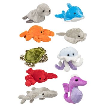 "9 Pack Ocean Mini 4"" Stuffed Animals, Variety of Ocean Animal Toys, Sea Party Favors for Kids"