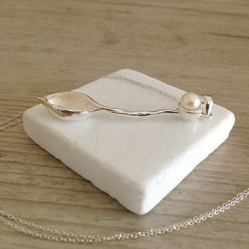White Ivory Pearl Necklace, Sterling Silver Organic Leaf Long Pendant, June Birthstone, Bridal Jewelry, Statement, Santorini Wedding Jewelry