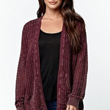 LA Hearts Drop Shoulder Cardigan - Womens Sweater - Red