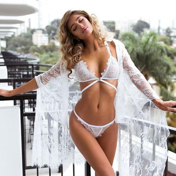 Summer Boho White Lace Kimono Cardigan Women Loose Long