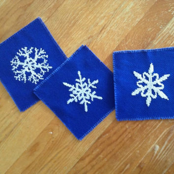 Snowflake pieces of drink coaster set of three Handmade cross stitch coasters White and blue
