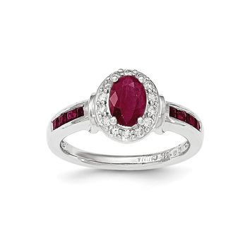 14k White Gold Diamond And Ruby W/halo Ring