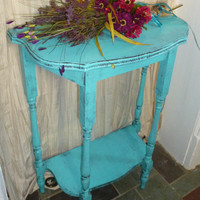Demi-lune Vintage Primitive Turquoise Painted Furniture Poppy Cottage