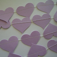 Lavender or Light Purple Paper Heart Garland, Weddings, Receptions, Bridal or Baby Showers, Birthday Party, All Occasion
