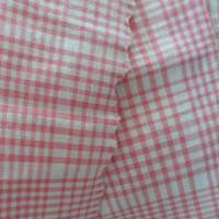 Vintage Cotton Linen Woven Fabric/One Yard Plus Cotton Linen Fabric/Vintage Cotton Pink and White Plaid Fabric