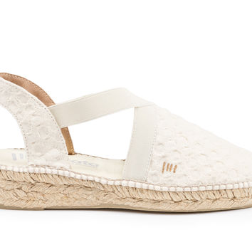 Cadaques Canvas Espadrille Wedges - Bubble Ivory
