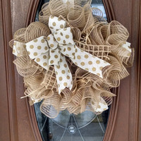 "Burlap Deco Mesh Wreath, Year Round Wreath, Ruffle Deco Mesh, Ivory & Gold Polka Dot Bow,  Raffia, Lattice Ribbon, 21"" Indoor/Outdoor Wreath"