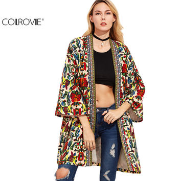 COLROVIE Women Basic Coats Trench Coat for Women Overcoat Colorful Open Front Outerwear With Tribal Print Tape Detail Coat