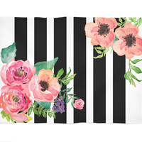 Black & White Stripes Floral Fleece Blanket