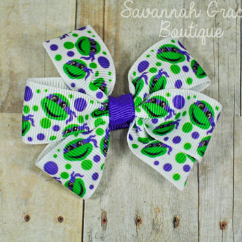 TMNT Donatello Pinwheel Hair bow for girls, Teenage Mutant Ninja Turtle