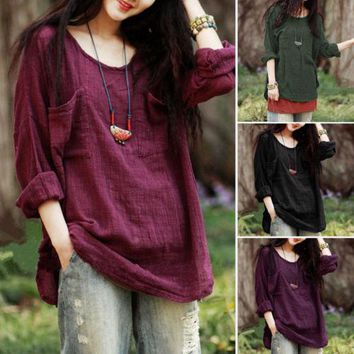 Summer New Women Pocket Plain Batwing Long Sleeve Simple Style Round Neck Ladies T-Shirts Casual Loose Tops Shirts