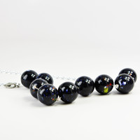 Marbled Black Bowling Ball-Style Silver Link Necklace