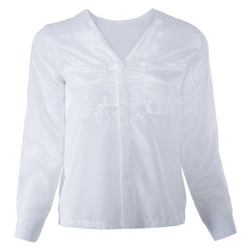 Casual V-Neck Solid Color Chiffon Long Sleeve Women's Blouse