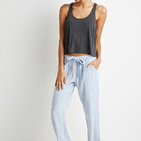 Drawstring Striped PJ Pants