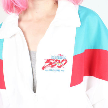 Vintage 1980s Windbreaker Coat White Red Teal Green Color Block Indy 500 80s Bomber Jacket Sport Nascar Indianapolis Racing M Medium L Large
