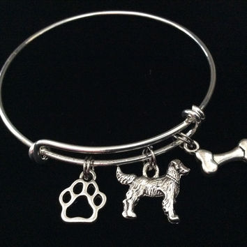 3D Dog Charm on a Silver Expandable Adjustable Bangle Bracelet Meaningful Dog Lover Gift