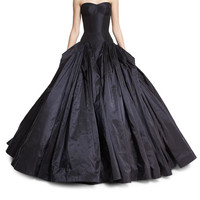 Zac Posen Strapless Drop-Waist Faille Ball Gown