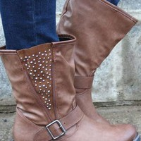 Ladies Biker Boots Diamante Brown Ankle Boots  from shoesnbags