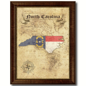 North Carolina State Vintage Map Home Decor Wall Art Office Decoration Gift Ideas