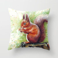 Squirrel Watercolor Painting Throw Pillow by Olechka
