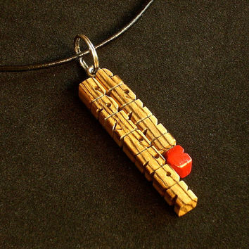 Love Pendant with Cord - Bocote Wood Names - Handmade to Order