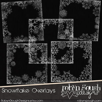 Chalkboard Snowflake Overlays ClipArt - Photo & Digital Scrapbook Overlays