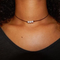 High Quality Pearl and Leather Necklace Choker +Gift Box +Free Christmas Gift Gold Necklace