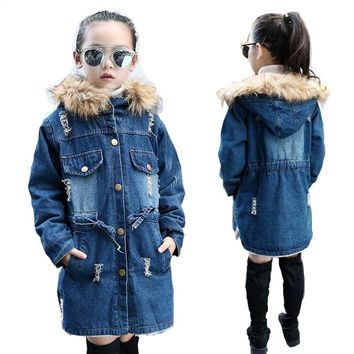 2018 Winter Girls Jacket for girls Children Clothes Denim Jackets Long Warm Clothing Kids Coats Cotton Hooded Outwear For Girl