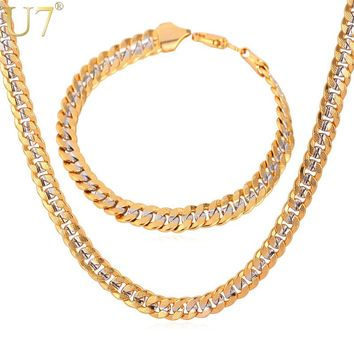 U7 Brand Necklace And Bracelet Set Two Tone Gold Color Hip Hop Cuban Link Chain Jewelry Set For Men Gift S566