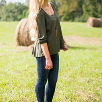 Take Me Away Blouse, Olive