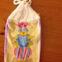 Chick and Easter Eggs Hanging Dish Towel With Hand Knitted Topper and Ties