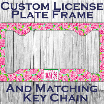 custom monogrammed personalized license plate frame lily pulitzer inspired vanity car tag frame 2083