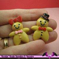 6 pc GINGERBREAD MAN and WOMAN Decoden Flatback Kawaii Cabochons