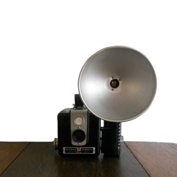 Vintage Camera Brownie Hawkeye Hash Edition with Flash Attachment - Bakelite Casing and Small Handle