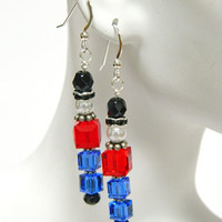 Toy Soldier Christmas Earrings Crystal Silver Short Holiday Handmade