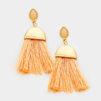 Peach Gemstone Tassel Earrings