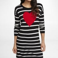 STRIPED HEART GRAPHIC SWEATER DRESS