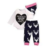 Newborn Baby Girl Deer Printed Clothing Set (Romper+Hat+Pants 3pcs) Infant Baby Boys Clothes Baby Set Rompers clothes