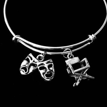 Drama Play Director Actor 3D Charms Silver Plated Expandable Bracelet Adjustable Bangle One Size Fits All