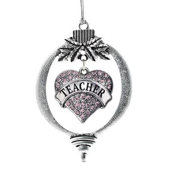 Teacher Pink Pave Heart Charm Holiday Ornament