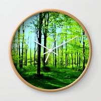 Sky Blue Morning Forest Wall Clock by Zurine
