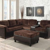 2 pc Cleavon collection 2 tone chocolate champion and espresso faux leather upholstered reversible sectional sofa