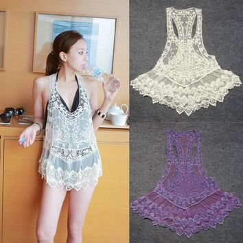 Lace Crochet Hollow Swimwear Bikini Beach Cover Up Dress