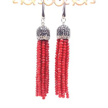 8 models Bohemian Vintage Color Crystal Beads Long Tassel Earrings Silver Cap Brass Ear Wire Tassel Dangle Earrings