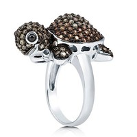 Brown Cubic Zirconia CZ Sterling Silver Super Cute Turtle Fashion Ring #r689