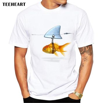 2018 New Goldfish And Shark Brand Fish Cool Printed Men's Casual T-shirt Male Retro Hipster Tops Tee Pb131