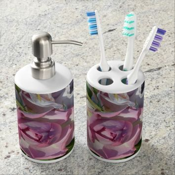 Heavenly Fuschia Rose Abstract Soap Dispenser And Toothbrush Holder