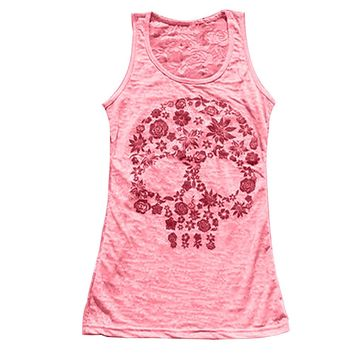 Women Skull Vest Printing Casual Stretch Sheath Slim Sexy Back Tank Top