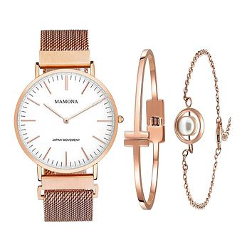 GLADIATOR MAMONA X Women's Rose Gold Mesh Band Watch & Bracelet Set