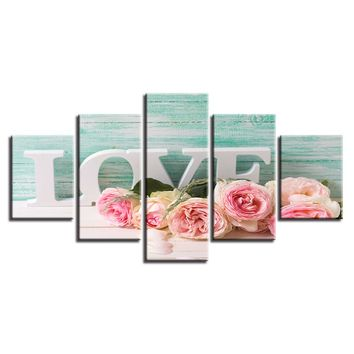 5 Pieces Pink Roses And Letters Love Painting Frame Modular Pictures Canvas